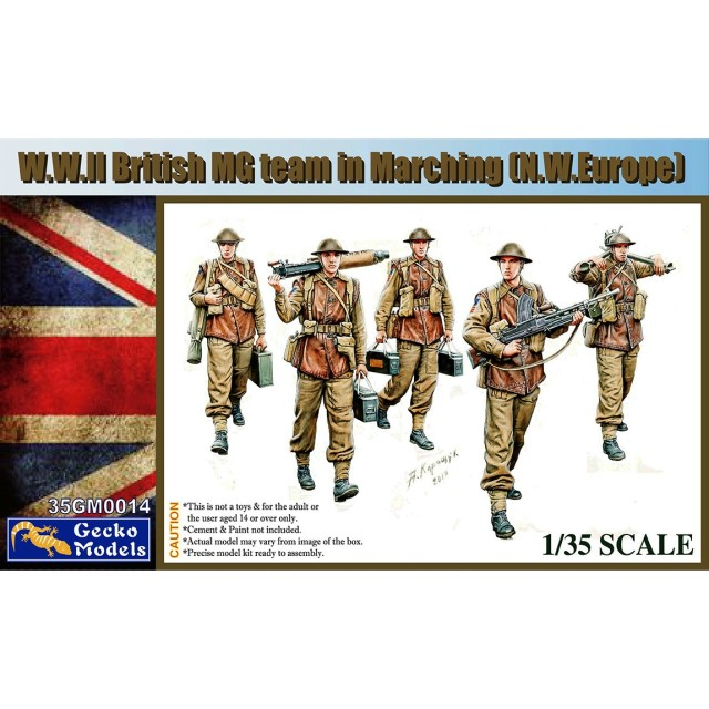 British WWII MG Team In Marching N.W. Europe Figure Set (5 Figures)