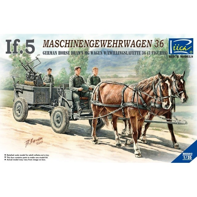 German WWII IF.5 Maschinemgwehrwagen 36 Horse Drawn MG Wagen w/Figures & Horses
