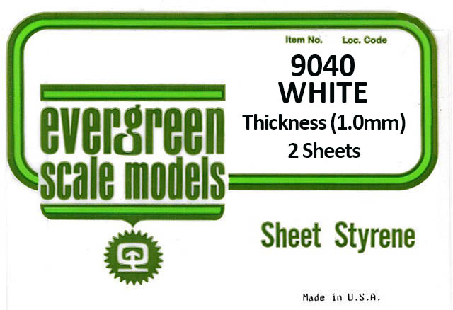 Plain Styrene Sheets 1.00mm Thk (2 Pieces Per Pack) #9040