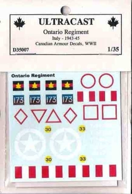 Canadian Armoured decals - Ontario Regiment