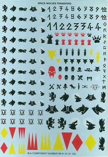 Warhammer 40K - Space Wolves Transfer Sheet.