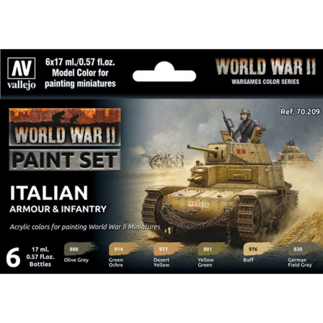 WWII Italian Armour & Infantry (6 Colour Set)